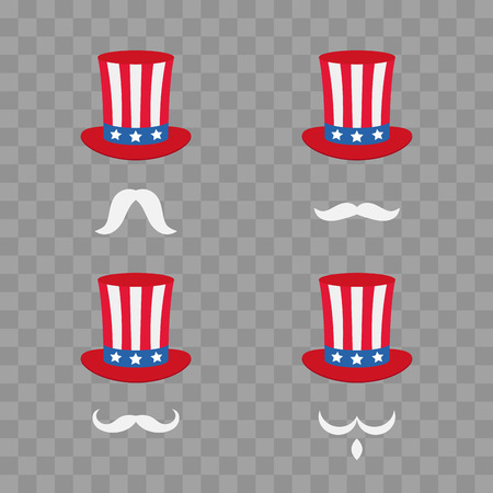 Uncle Sams hat. Symbol of freedom and liberty. Cartoon Cute Headband with a mustache. Vector illustration isolated on transparent checkered
