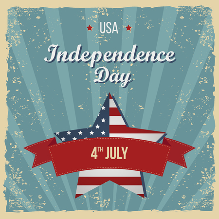 flayers: Vintage Style Independence Day poster. Greeting card. Hand-lettering party invitation. Vintage typography illustration with star and stripes. Retro patterns for Posters, Flayers and Banner Designs Illustration
