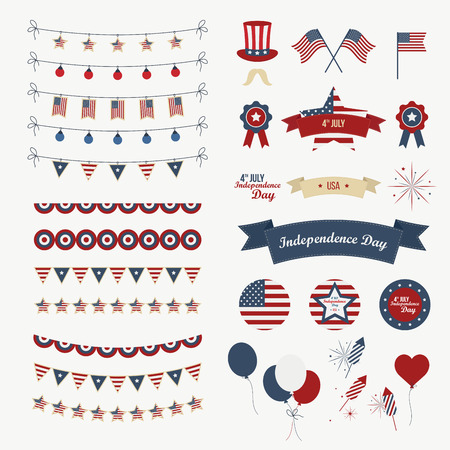 A set of design elements for Independence Day. 4th of July Objects, Element. Isolated on white. Vector icons