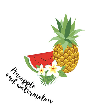 memphis: pineapple and watermelon - vector, illustration. Fruit set. Icons tropical fruits with leaves and flowers. Set of vector trendy illustrations isolated on white Illustration