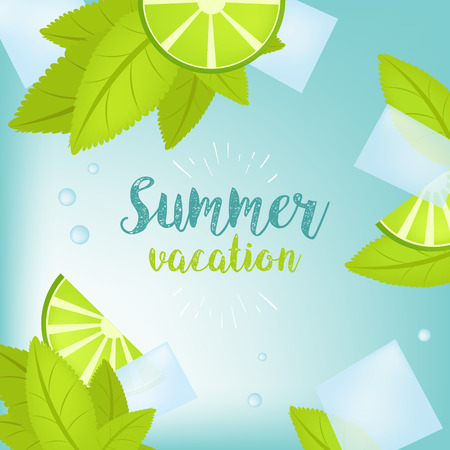 Vector Summer Time Holiday typographic illustration. Tropical plants, palm tree, fruits, flowers. Lime and ice cubes. Mojito. Eps 10 design