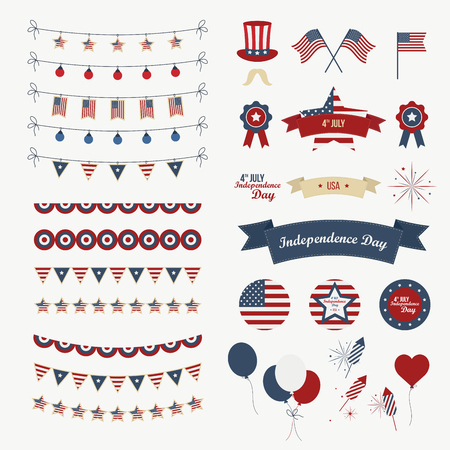 red balloons: A set of design elements for Independence Day. 4th of July Objects, Element. Isolated on white. icons Stock Photo