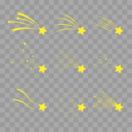 meteorites: Falling stars vector set. Shooting stars isolated on transparent checkered. Icons of meteorites and comets. Falling stars with different tails