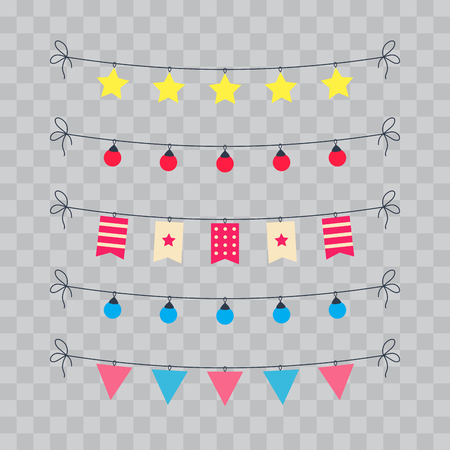ribbon: Party And Celebration Design Elements collection. Festive Event and Show icons set. Birthday objects. With carnival masks, petards, fireworks, flags, streamers. Isolated on transparent checkered Illustration
