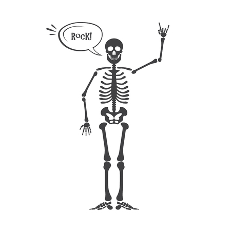 Skeleton human anatomy. Vector halloween black skeleton isolated on white. Skeleton hand sign: ok, finger up, finger down, fist, middle finger, Rock n roll horns, clapping palms and other emoji Illustration