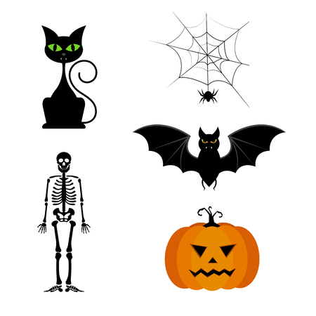 Collection of different cute black Halloween icon set.
