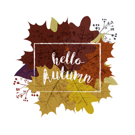 Autumn season banner. Greeting card with inscription Hello, Autumn and hand drawn watercolor fall leaves.