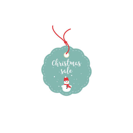 buy now: Retail Sale Tags and Clearance Tags. Festive christmas design with snowflakes and snowman