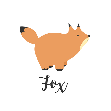 Illustration of a Fox. Greeting card with cute fox. cartoon illustration of baby animals. Logo, badges, banners, emblem and design elements