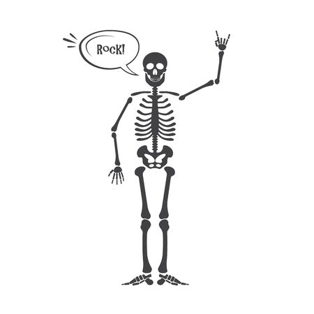 Skeleton human anatomy. halloween black skeleton isolated on white. Skeleton hand sign Stock Photo