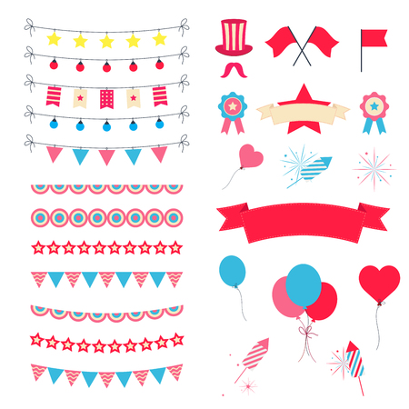 Party And Celebration Design Elements collection. Festive Event and Show icons set. Birthday objects. With carnival masks, petards, fireworks, flags, streamers
