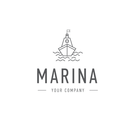 marina, steering wheel logo template, abstract business icon. Ship and waves. Steamboat. Sailboat. Fishing
