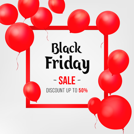 Black Friday Sale Poster with Shiny Balloons on White Background with Square Frame. illustration