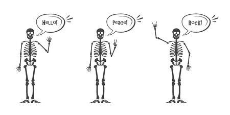 Skeleton hand gestures set human skeleton posing isolated on 90160357 skeleton hand gestures set human skeleton posing isolated on white background illustration ccuart Choice Image