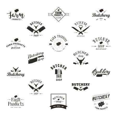 レトロのスタイルを作られた肉屋のロゴのテンプレートのセットです。サンプル テキスト付き屠ラベル。肉屋のデザイン要素と食料品、肉店、パッ 写真素材