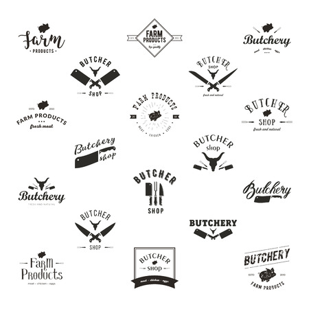 Set of retro styled butchery logo templates. Butchery labels with sample text. Butchery design elements and farm animals silhouettes for groceries, meat stores, packaging and advertising
