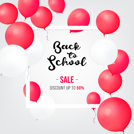 Sale shopping banners. Back to school sale icons. Sale and balloon isolated . Discount offer price label, symbol for advertising campaign in retail, sale promo marketing, discount sticker Stock Photo