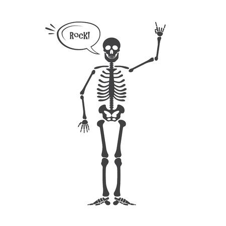 Skeleton human anatomy. halloween black skeleton isolated on white. Skeleton hand sign Stock Photo
