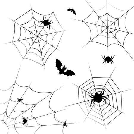 Halloween cobweb frame border and dividers isolated on white with spider web for spiderweb scary design