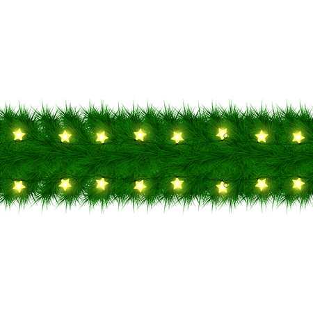 Christmas garland of fir branches Card design. Happy new year xmas with Glowing star Lights
