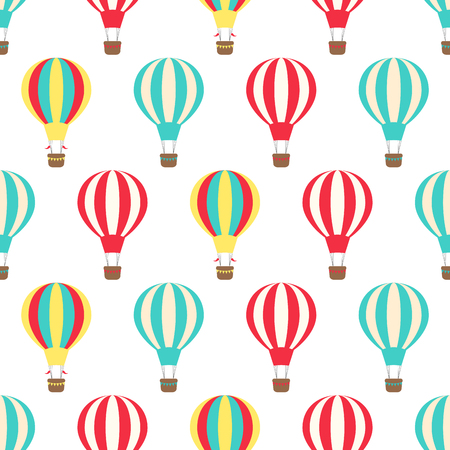 Vector seamless pattern, decorative bright illustration of hot air balloons