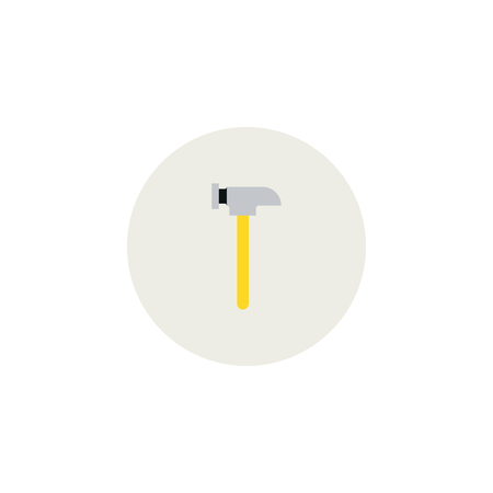Typical hammer in flat style. Cartoon isolated hammer tool on white background. Hammer colorful icon with shadow. Hammer vector stock illustration. Ilustração