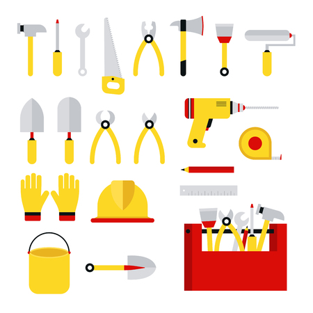 Stock vector illustration set isolated icons building tools repair, construction buildings, drill, hammer, screwdriver, saw, file, putty knife, ruler, helmet, roller, brush tool box kit flat style Illustration