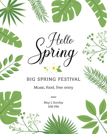Hello Spring festive banner with Springtime season flower. Floral greeting card for Spring holiday themes design with daffodil, rose and tulip, calla lily, flower bud and green leaf frame
