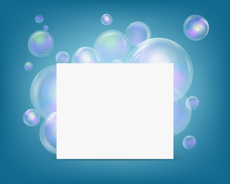 Blank banner with soup colorful babble. Soap bubbles wonderful colorful vector