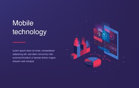 Isometric mobile phone. Smart and simple web interface with different apps and icons. 3d vector. Web banner with laptop and currency. Isometric gradient style. Home page concept. UI design mockup Ilustração