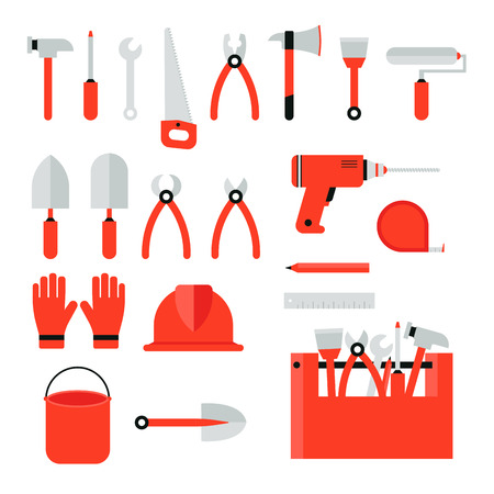 Set of construction tools on a white background. Vector concept - Home renovation. Illustration
