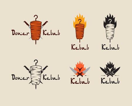 Set of doner kebab templates. Vector creative labels for Turkish and Arabian fast food restaurant