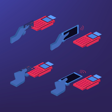 Mobile payment set isolated vector illustration. POS terminal confirm, NFC payment, money transferring via smartphone app, online banking and shopping, e-commerce. Mobile payment. Isometric set. Illusztráció