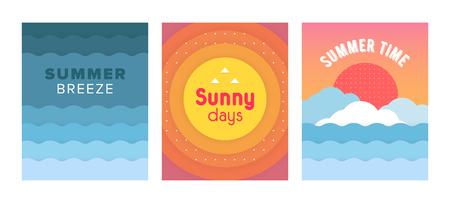 Unieke artistieke zomerkaarten met heldere gradiëntachtergrond, vormen en geometrische elementen. Abstracte ontwerpkaarten perfect voor prints, flyers, banners, uitnodigingen, speciale aanbiedingen en meer.