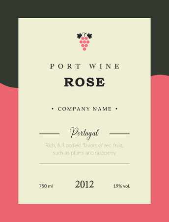 Port wine label. Vector premium template set. Clean and modern design. Rose and Red wine. National Portuguese Wine. Illustration