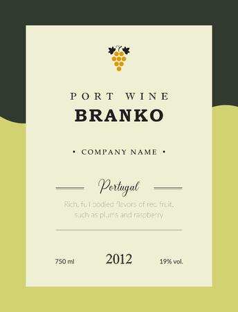 Portweinetikett. Vektor Premium Template Set. Sauberes und modernes Design. Branco und Weißwein. Nationaler portugiesischer Wein.