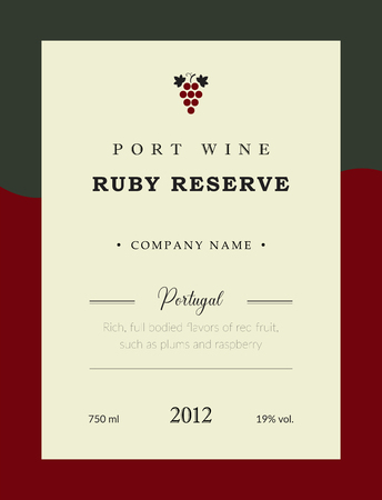 Port wine label. Vector premium template set. Clean and modern design. Ruby Reserve and Red wine. National Portuguese Wine.