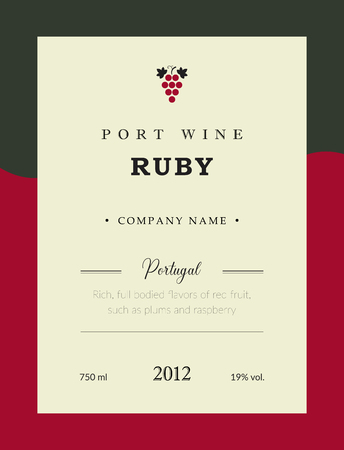 Port wine label. Vector premium template set. Clean and modern design. Ruby and Red wine. National Portuguese Wine.
