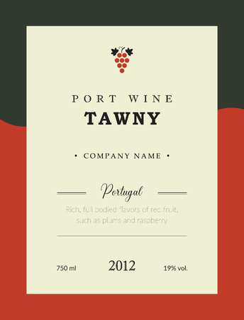 Port wine label. Vector premium template set. Clean and modern design. Towny and Red wine. National Portuguese Wine.