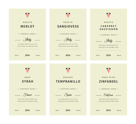 Special collection best quality grape varieties and premium wine brand names labels emblems abstract isolated vector illustration. Rose wine label set