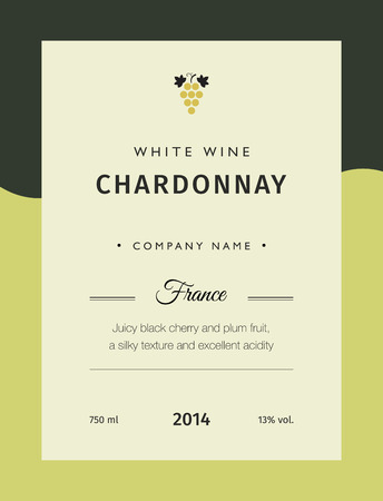 Label for a bottle of wine, glasses and a bunch of grapes. Best quality grape varieties and premium wine brand names labels emblems isolated vector illustration. White wine label Chardonnay. Ilustração