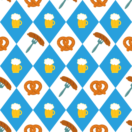 Pretzels beer sausage lined up seamless vector illustration pattern. Beer pretzel sausages in a row.Blue and white checkered background. Perfect for Oktoberfest
