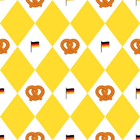 Munich beer festival flags and pretzels seamless pattern. Oktoberfet background, vector illustration