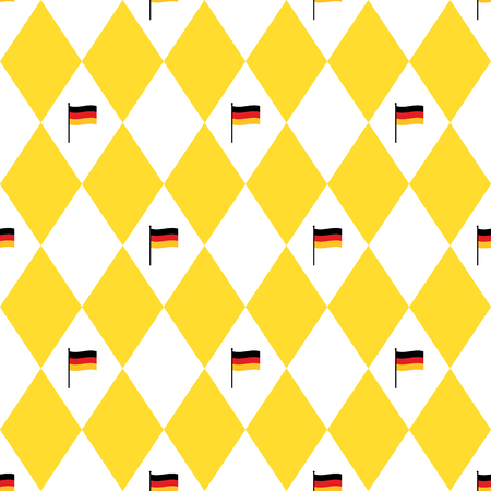 Munich beer festival flags and rhomb seamless pattern. Oktoberfet background, vector illustration