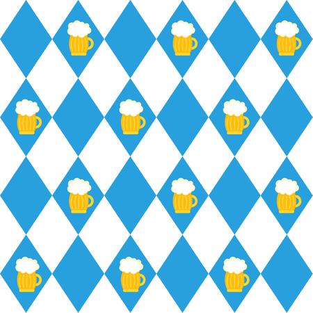 Drapeaux du festival de la bière de Munich et verre de modèle sans couture de bière. Fond d'Oktoberfet, illustration vectorielle