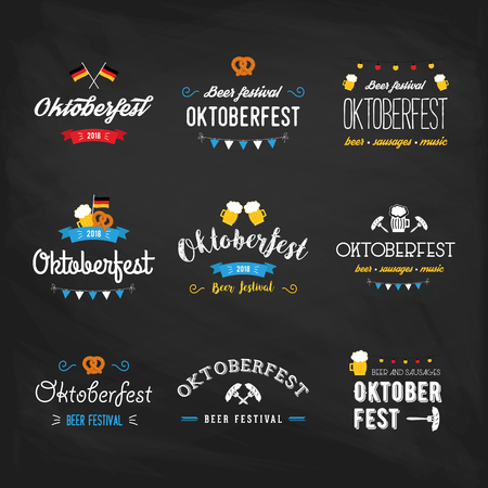 Oktoberfest beer festival lettering typography set celebration retro typographic design templates labels, badges and logos. Colorful poster. Composition with pretzels, beer, sausage and flag