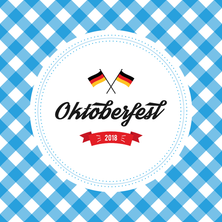 Oktoberfest poster vector illustration with fresh lager beer on blue white flag background. Celebration flyer template for traditional German beer festival