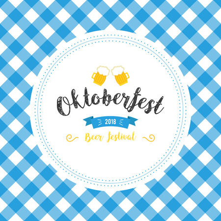 Oktoberfest poster vector illustration with fresh lager beer on blue white flag background. Celebration flyer template for traditional German beer festival. Beer and flag