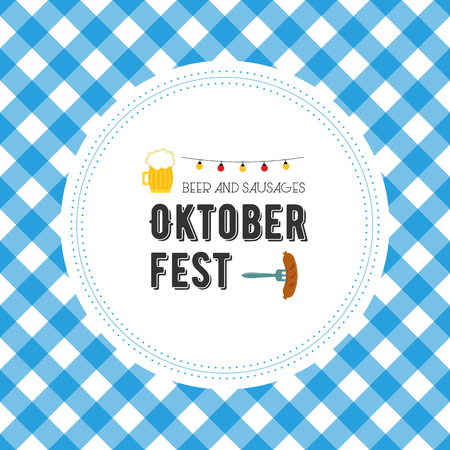 Oktoberfest poster vector illustration with fresh lager beer on blue white flag background. Celebration flyer template for traditional German beer festival. Beer, sausage and flag