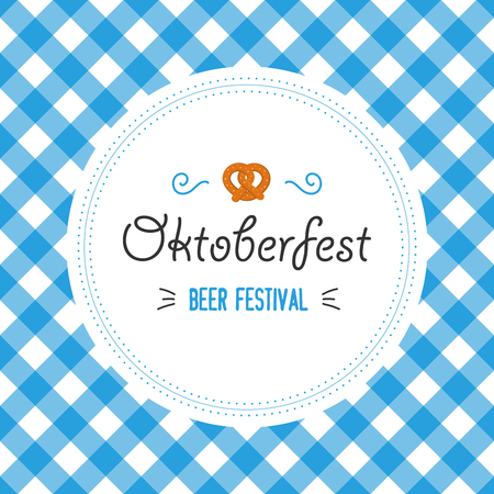 Oktoberfest poster vector illustration with fresh lager beer on blue white flag background. Celebration flyer template for traditional German beer festival. Pretzels and flag.